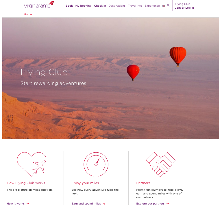 loyalty program examples - virgin atlantic