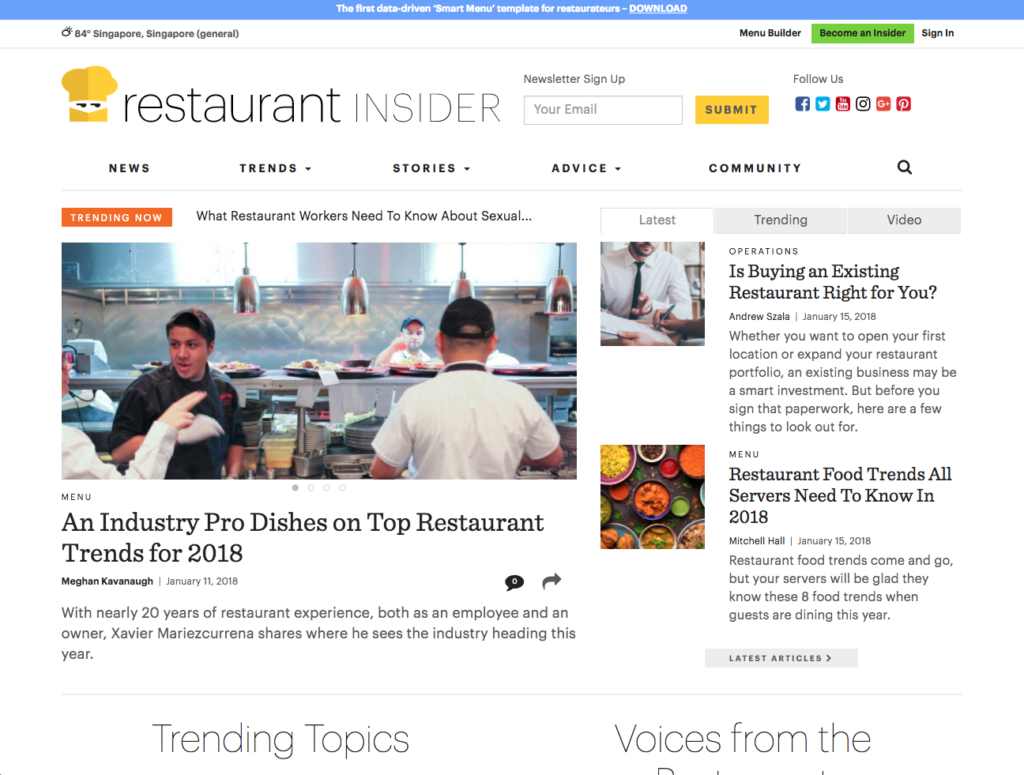 best restaurant management blogs - restaurant insider blog F&B industry