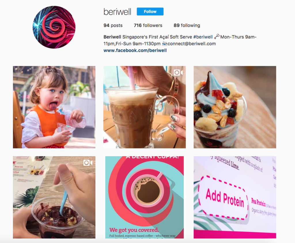beriwell instagram feed restaurant social media marketing acai soft serve