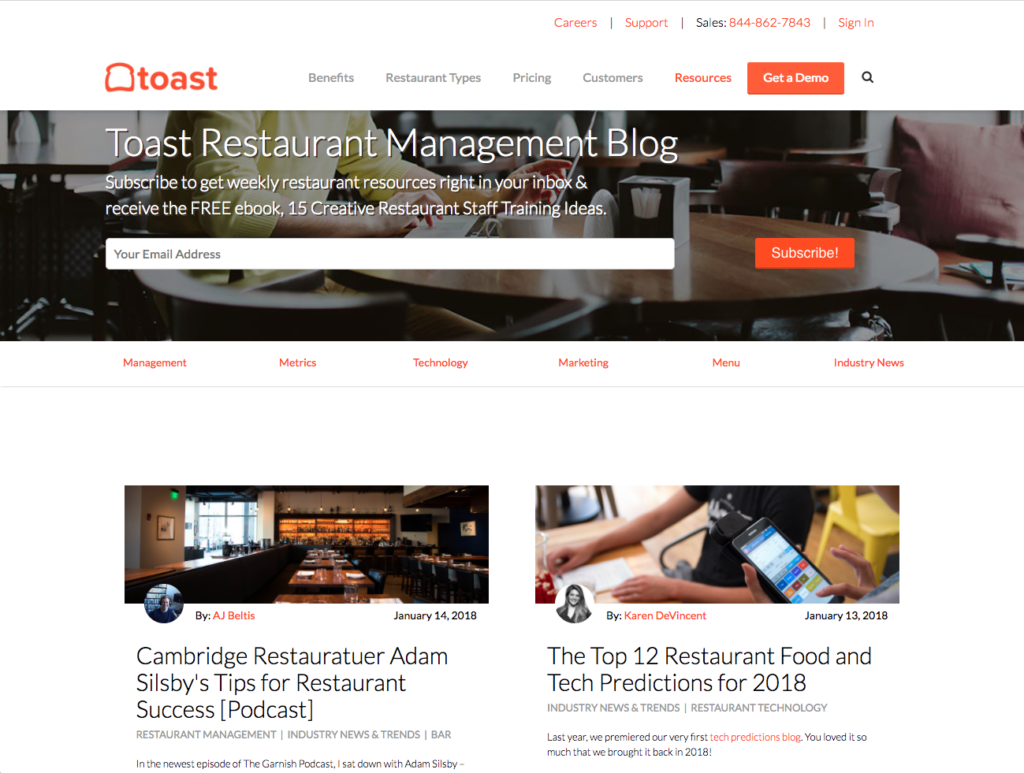 best restaurant management blogs - toast pos