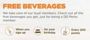 dunkin donuts loyalty - free beverages