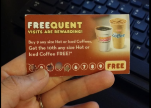 loyalty punch card design - dunkin donuts