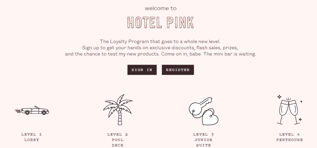 frank body customer loyalty hotel pink - four tiers perks rewards