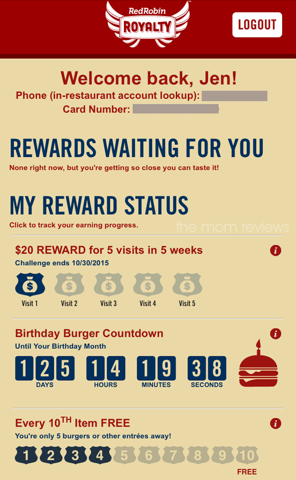 red robin royalty loyalty program - 10th item free