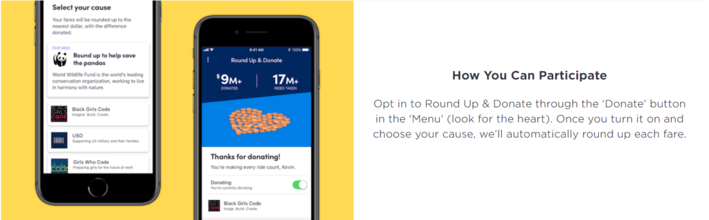 customer loyalty programs - lyft round up charity rewards donation -- candybar loyalty rewards