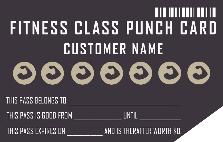 fitness customer loyalty punch card