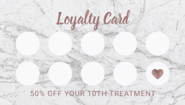 health and beauty customer loyalty punch card
