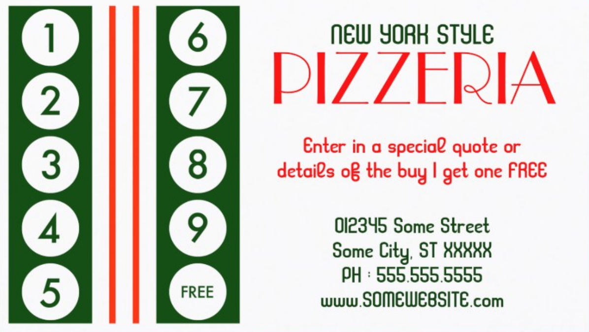 pizza shop loyalty punch card