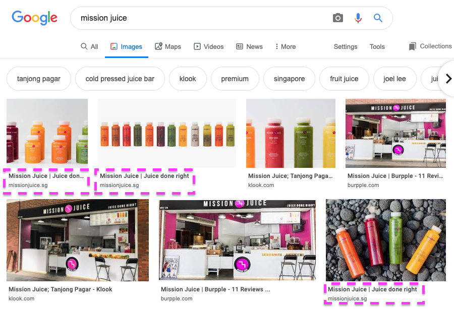 mission juice image seo - google results