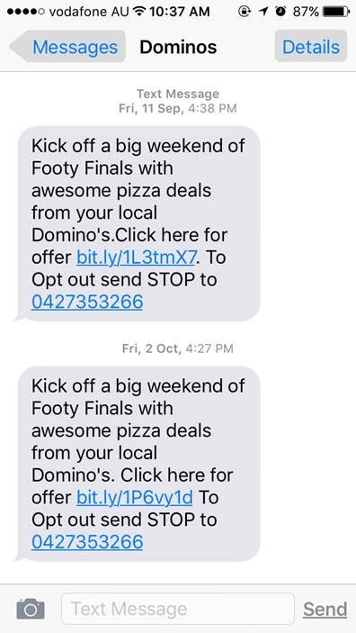 dominos text message marketing campaign - limited offer