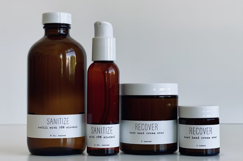 bottles and jars of handmade skincare products from handmade la conner