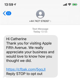 text message marketing leave a google review