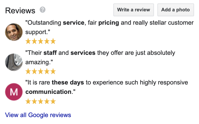 five star google business reviews examples - candybar.co
